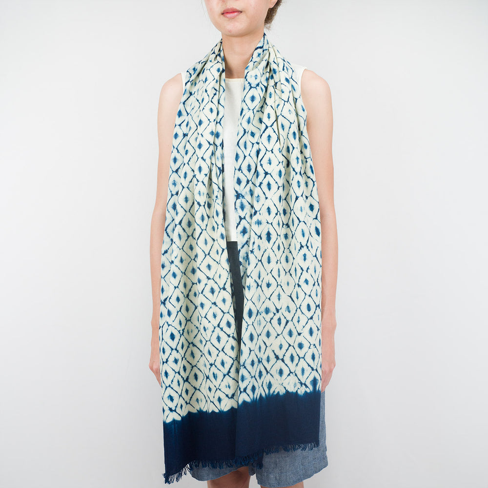Shibori Indigo Bamboo Cotton Scarf - Pineapple - Slowstitch Studio