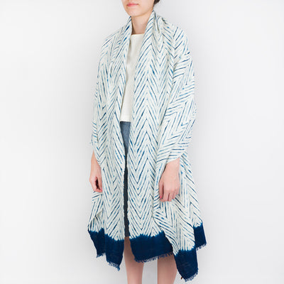 Shibori Indigo Cotton Scarf - Chevron - Slowstitch Studio