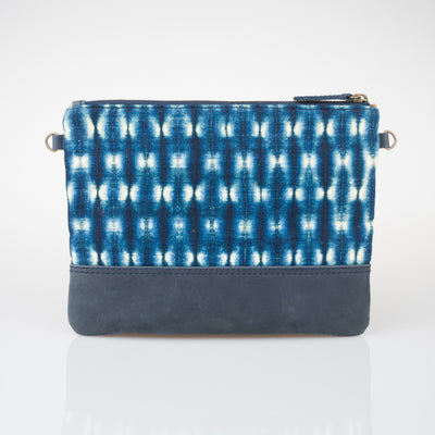 Shibori Indigo Crossbody Bag - Fireflies - Blue - Slowstitch Studio