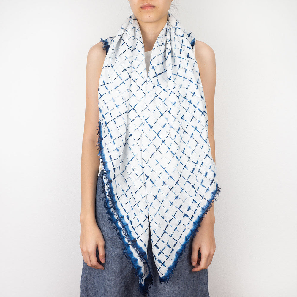 Shibori Indigo Linen Shawl - Lattice - Slowstitch Studio