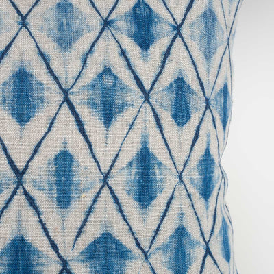 Shibori Indigo Pillow - Beige Diamond - Slowstitch Studio