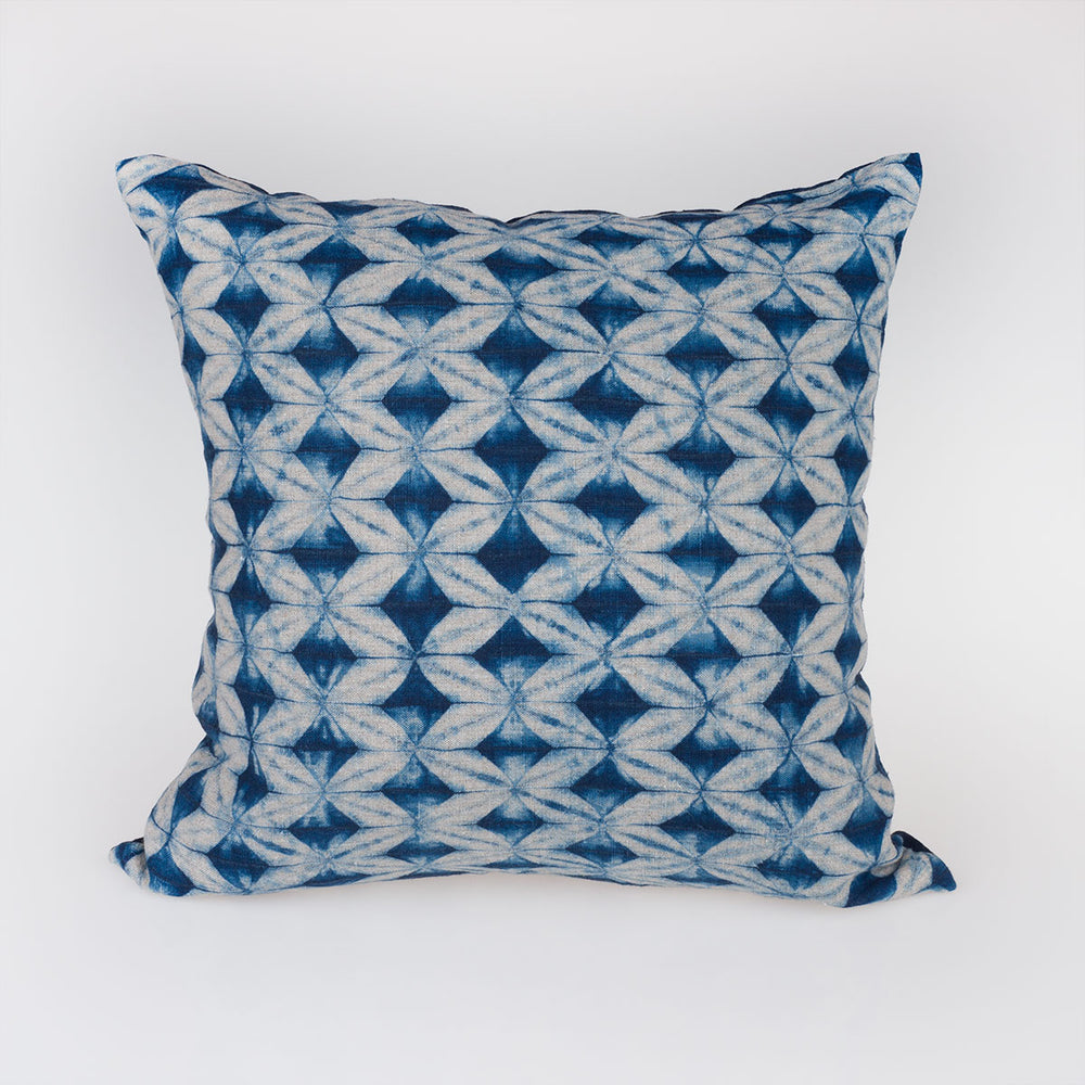 Shibori Indigo Pillow - Beige Prisms - Slowstitch Studio