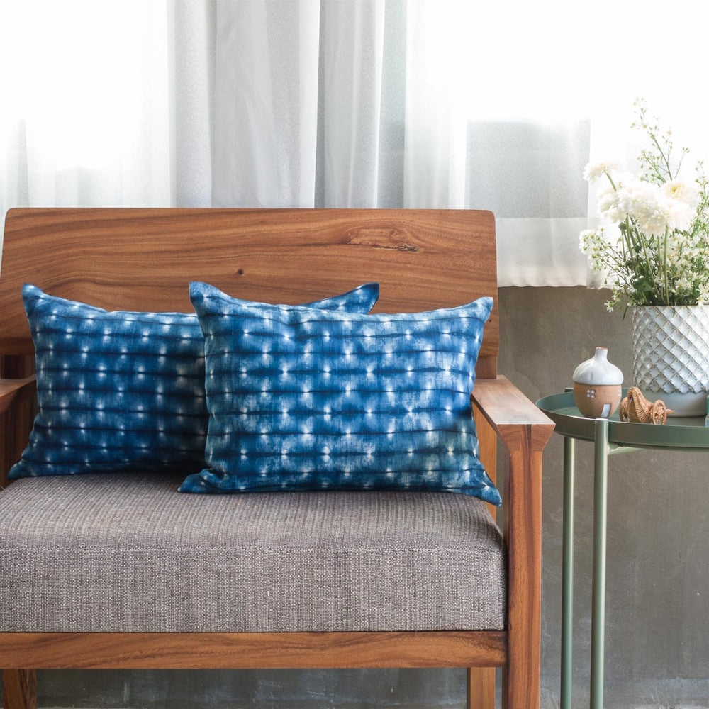 Shibori Indigo Pillow - Fireflies - Lumbar - Slowstitch Studio