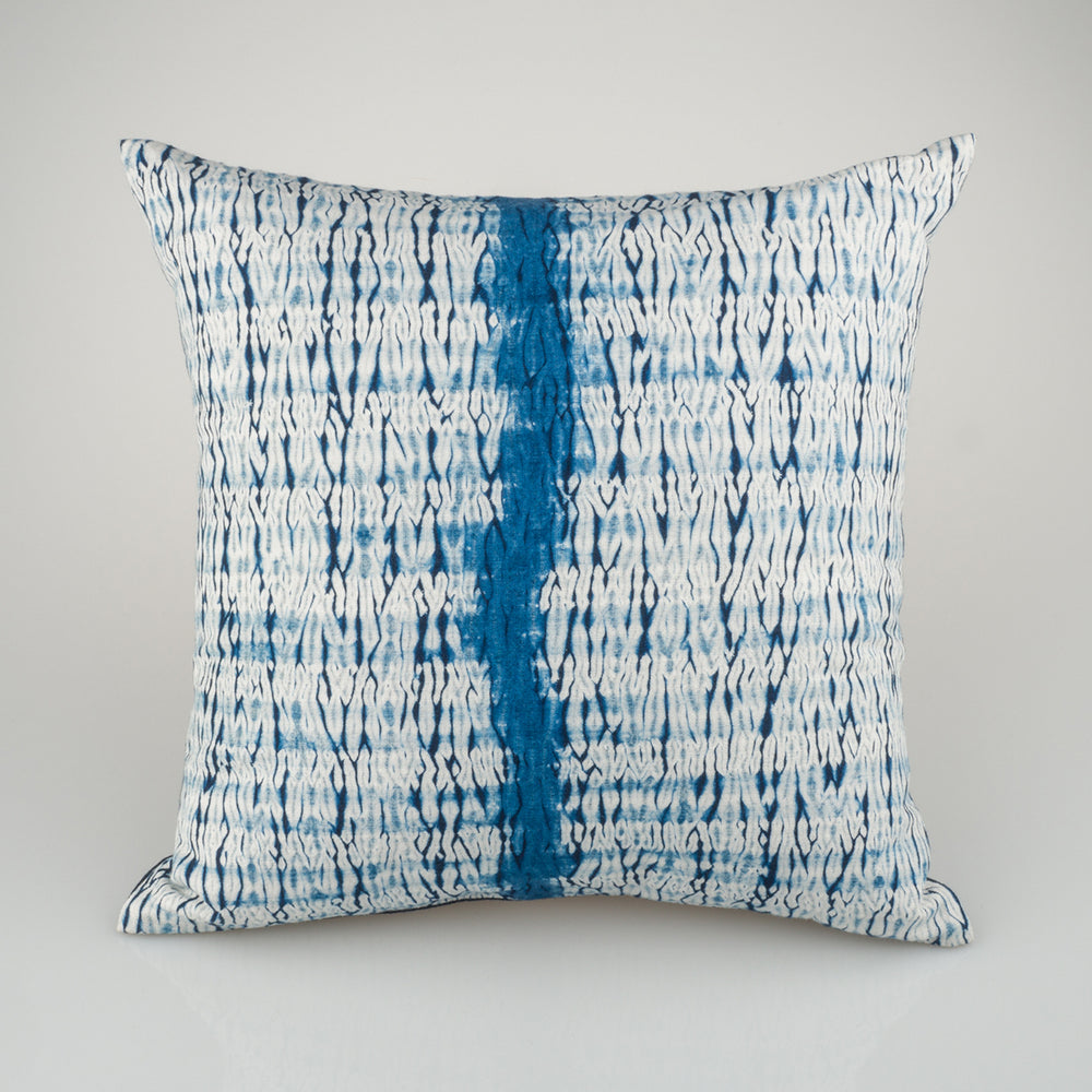 Shibori Indigo Pillow - River - Slowstitch Studio