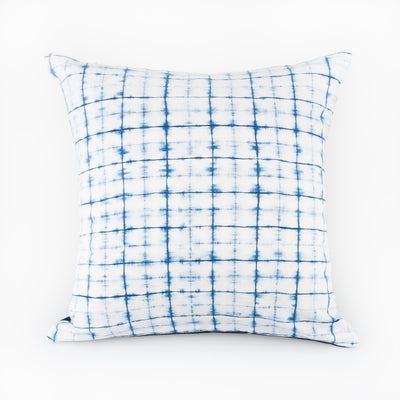 Shibori Indigo Pillow - Lattice - Slowstitch Studio