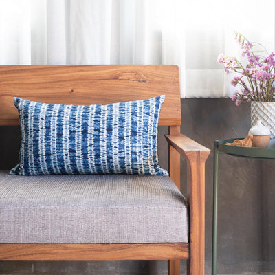 Shibori Indigo Pillow - Ripples - Lumbar - Slowstitch Studio