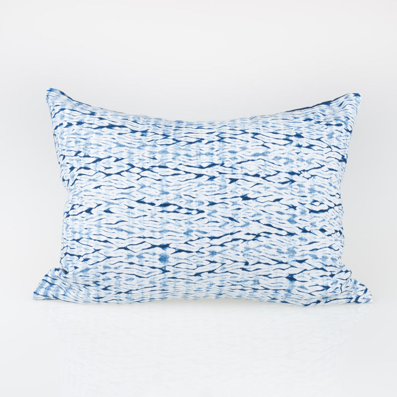 Shibori Indigo Pillow - Woodgrain - Lumbar - Slowstitch Studio