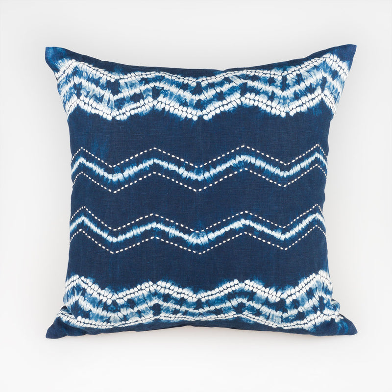 Shibori Indigo Pillow - Zig-zag - Slowstitch Studio