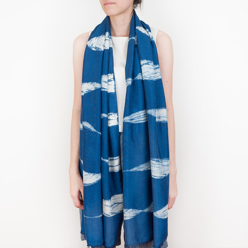Shibori Indigo Silk Scarf - Serpent - Slowstitch Studio