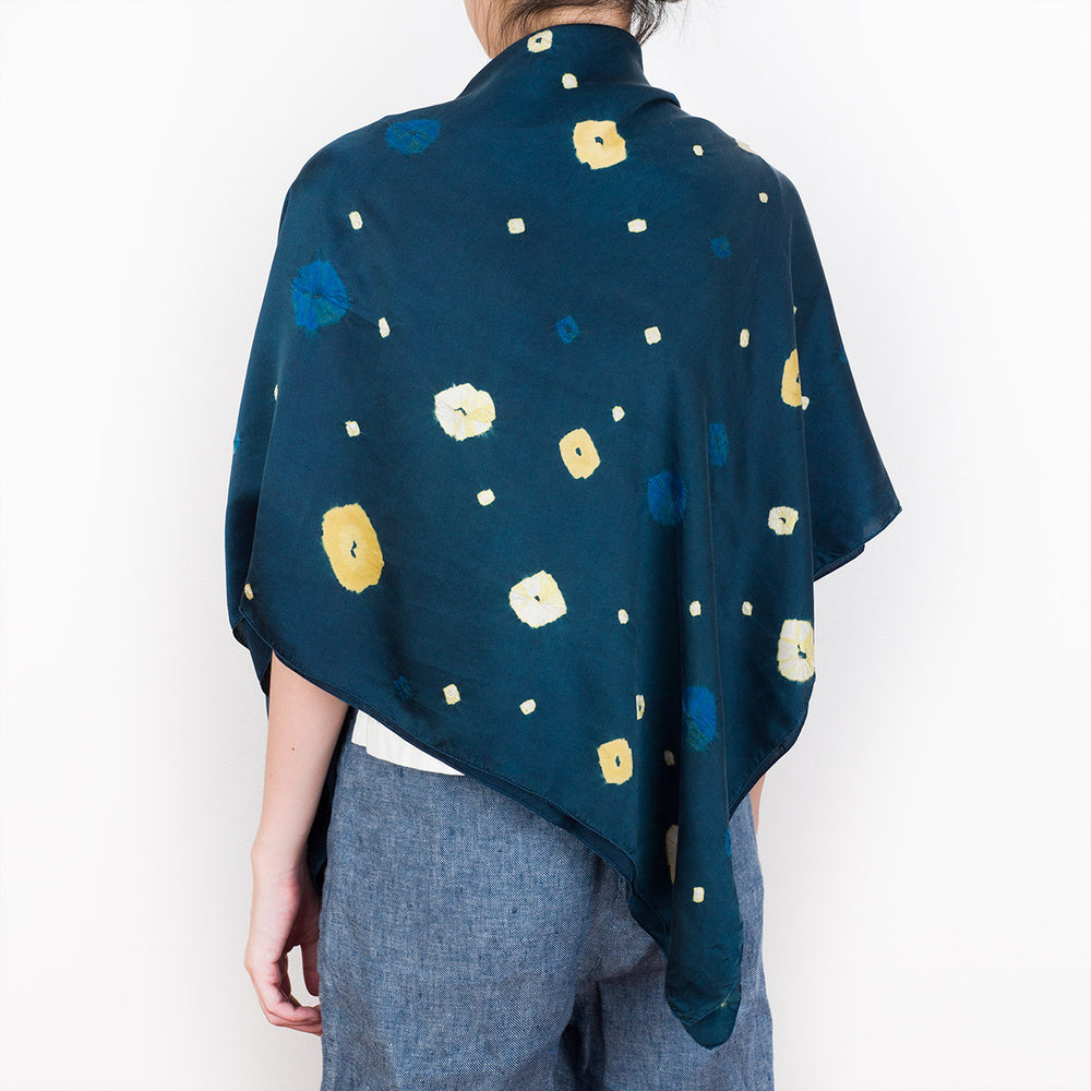 Shibori Indigo Silk Shawl - Gold Astra - Slowstitch Studio