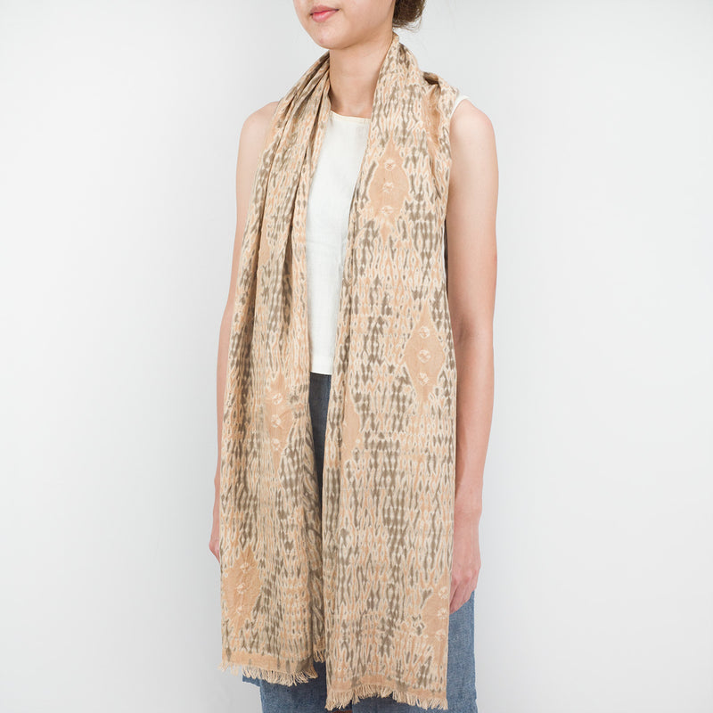 Shibori Natural Dye Bamboo Cotton Scarf - Ghosts - Slowstitch Studio