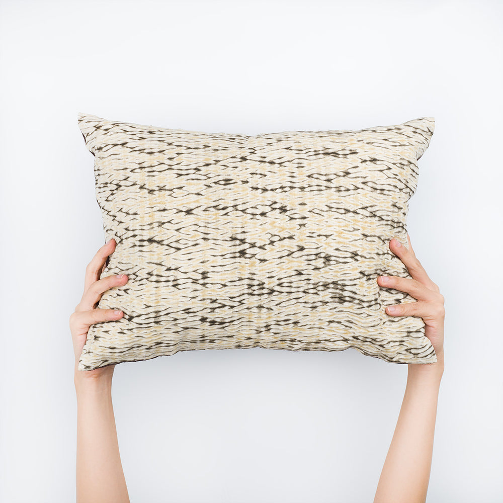 Shibori Natural Dye Pillow - Smoke - Slowstitch Studio