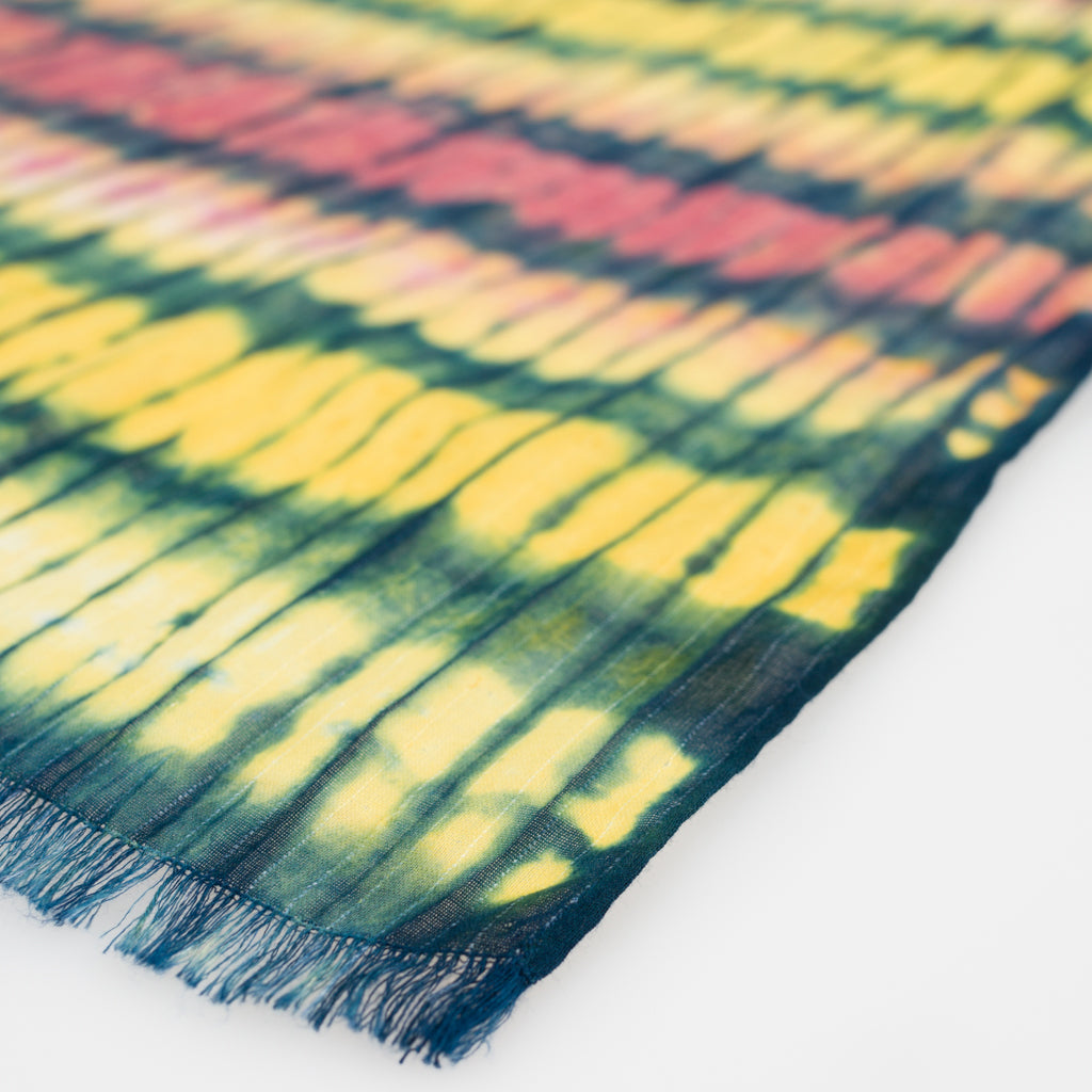 Shibori Natural Dye Cotton Scarf - Festival - Long - Slowstitch Studio