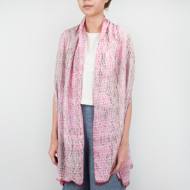 Shibori Natural Dye Silk Scarf - Pink Woodgrain - Slowstitch Studio