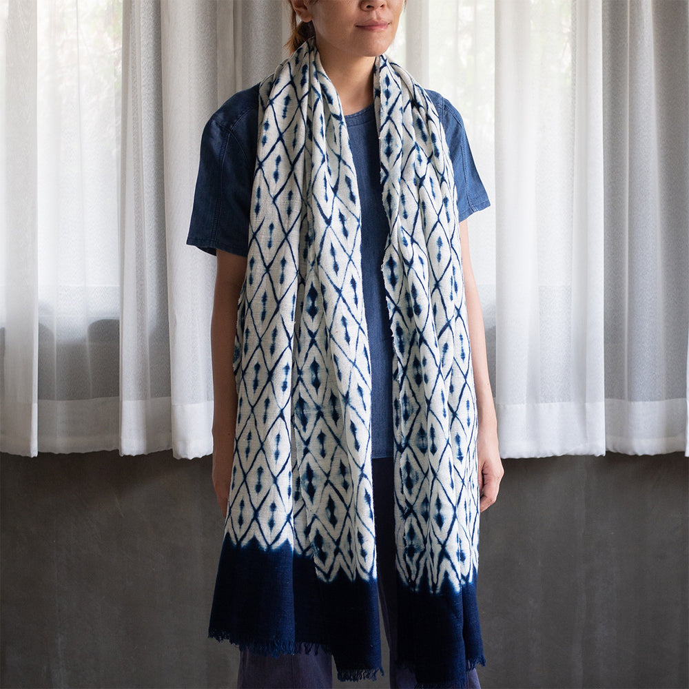 Handwoven Cotton Scarf - Diamond - Slowstitch Studio