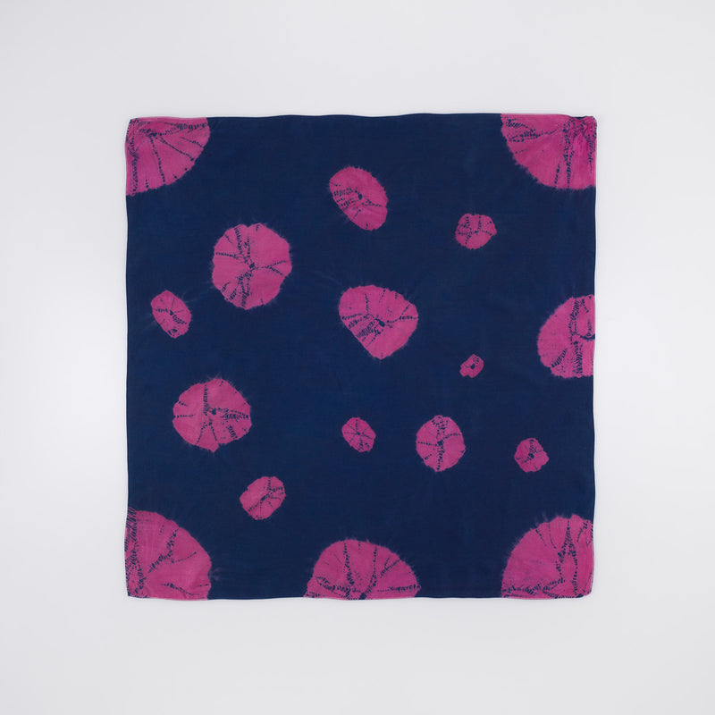 Silk Bandana - Purple Lily Pads