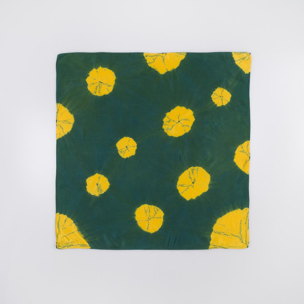 Silk Bandana - Yellow Lily Pads