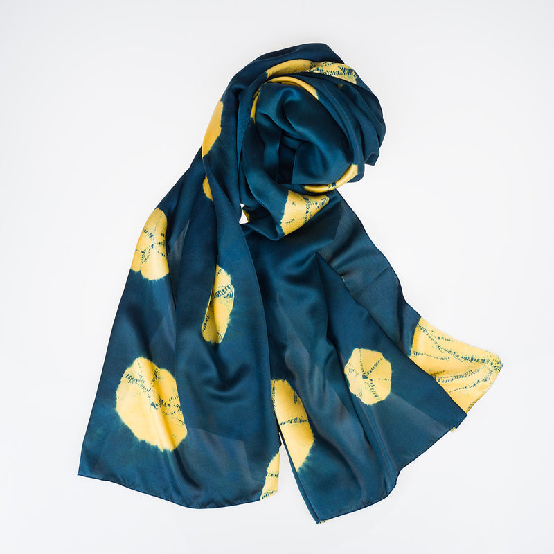 Silk Scarf - Gold Lily Pads