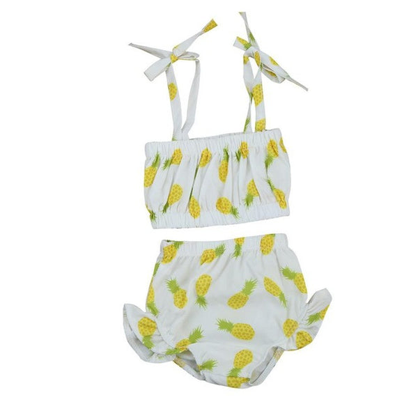 2017 Cute Newborn Baby Girl Clothes Swimming Pineapple printing Ruffle Swimsuit Two Pieces bebe swimwear Child stroller vestidos