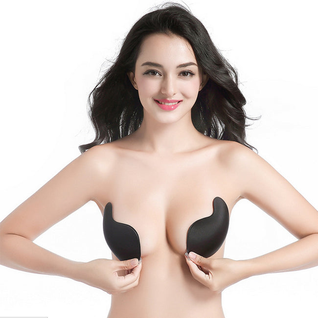 AEB146 Women Sexy Strapless Instant Breast Lift Invisible Silicone Push Up Bra BK M