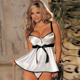 AED09 Lace lingerie White babydoll Dress Sleepwear Nightwear Underwear G-String
