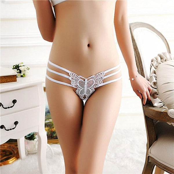 AEB126 Women Sexy Lace Briefs Panties Thongs G-string Lingerie Underwear BK