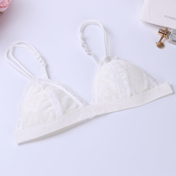 AEB110 Women Push Up Deep V Ultrathin Wire Free Unpadded Lace Brassiere Bra BK L