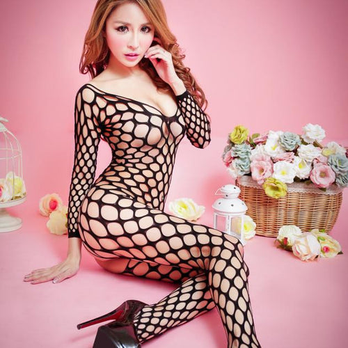 AEB119 Women Sexy Floral Open Crotch Mesh Bodystockings Bodysuits