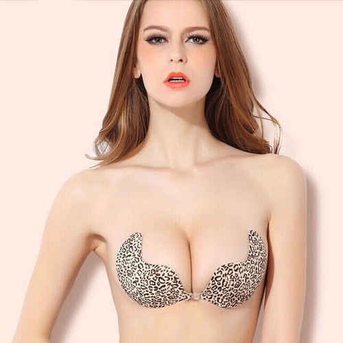 AEB112 Women Push Up Silicone Self-adhesive Backless Leopard Invisible Bra A-B