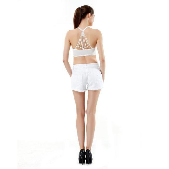 AEB168 Women's Sexy Back Embroidery Lace Bra Bustier Crop Top Tank BK