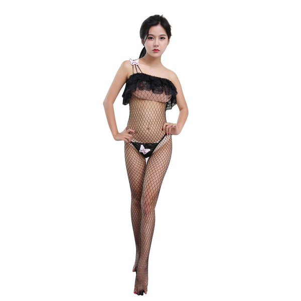 AEB37 Sexy Lingerie Fishnet Open Crotch Bodystockings Tights Nightwear Set G-string