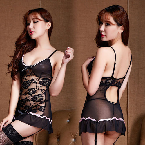 AEB150 Women Sexy Underwear Sleepwear Lace Printing Dress G-String Temptation