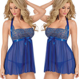 AEB106 Women Lingerie Lace Dress Underwear Babydoll Sleepwear+G-string Nightwear L