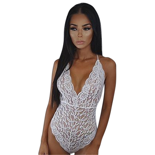 AEB123 Women Sexy Lace Backless Jumpsuit Sexy Lingerie Bodysuit Pajamas