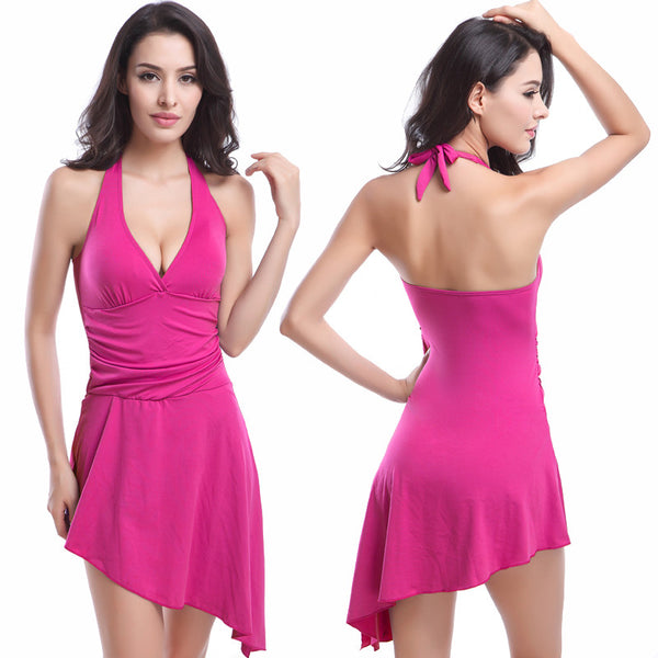 AESW06 One Piece Swim Dress Sexy Push Up Swimdress Paded Swimsuit Swimwear for Women Beach Swimming Pool