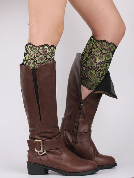 AEA29 Women Stretch Lace Boot Leg Cuffs Soft Elastic Laced Boot Sock Cuff Toppers