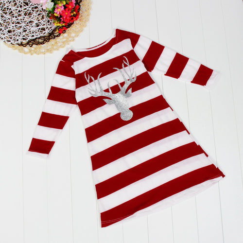 AED08 Girl Children Fashion Stripe Dress Round Collar Christmas Elk Long Sleeve Dress