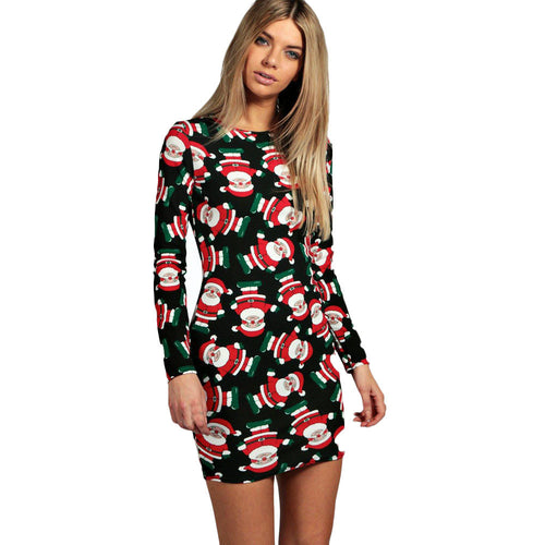 AED05 Fashion Ladies Women Long Sleeve Santa Printing Christmas Party Swing Dress