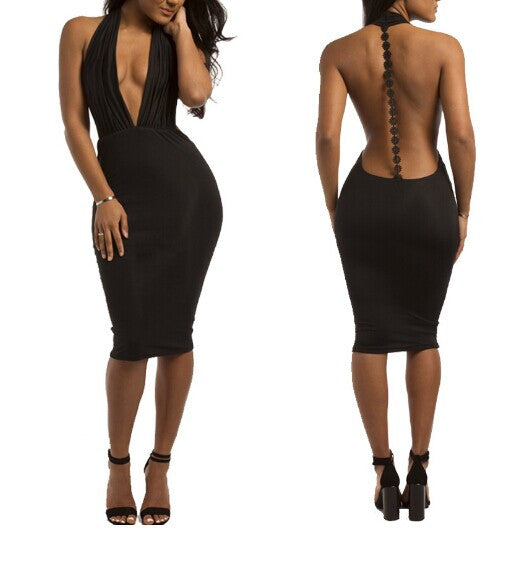 AECW10 Women's Ladies Sexy Deep V-neck Backless Bodycon Club Dress Jumpsuit Bandage Dress