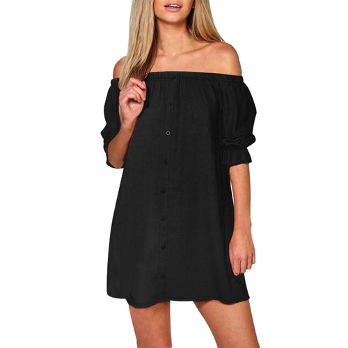 AED36 Womens Ladies Off Shoulder Button Mini Dress Evening Shirt Dress