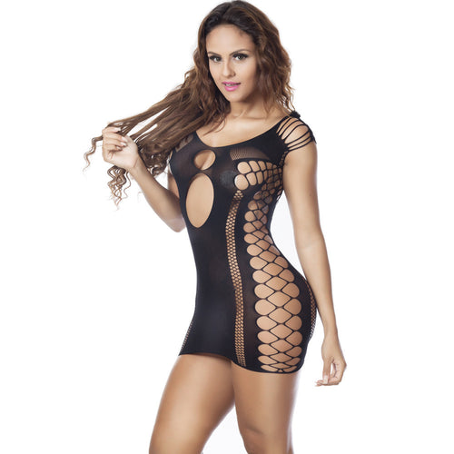 AEB46 Sexy Women Fishnet Sheer Open Crotch Body Stocking Bodysuit Lingerie