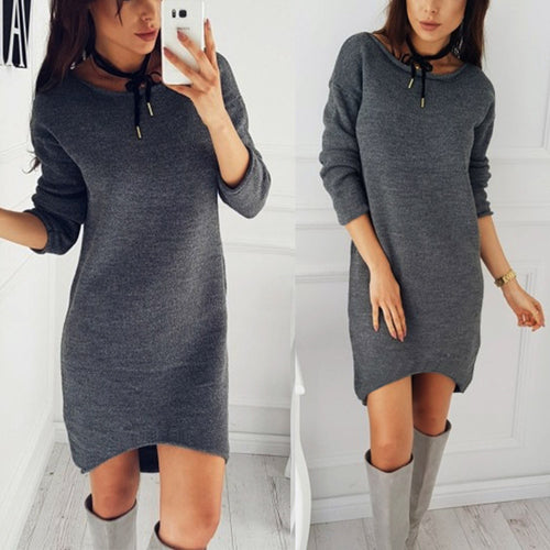 AED07 Fashion Women Solid O-Neck Sweater Long Shirt Casual Long Sleeve Pullove Dress