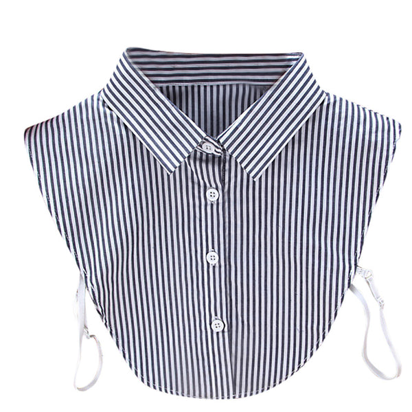 AED25 Women New Stripe Blouse False Collar Clothes Shirt Detachable Collars