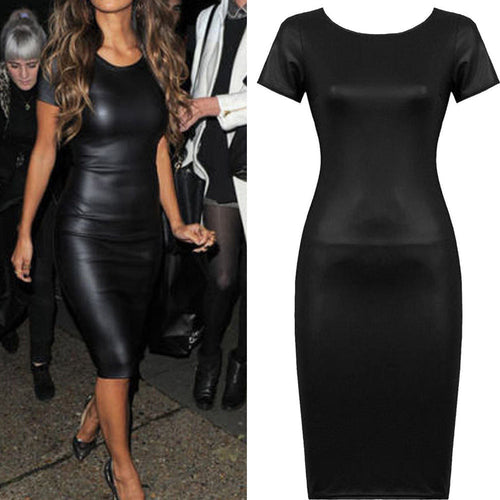 AED29 Women Short Sleeve Wet Look Faux Leather Bodycon Midi Sheath Sexy Skinny Dress