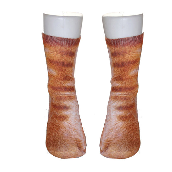 AEA23 Women Man Adult Unisex 3D Animal Paw Crew Socks Sublimated Print Socks