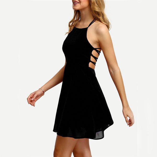 AED34 Women's Party Cocktail Backless Bandage Sleeveless Mini Dress
