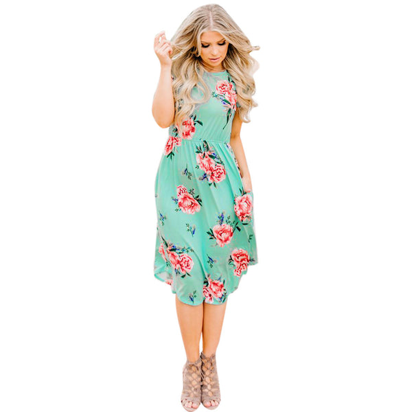 AED06 Fashion Women Floral Printed Short Sleeve Round Neck Casual Beach Dress