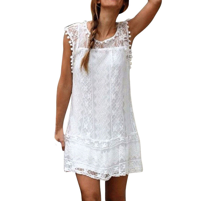 AED19 Women Casual Lace Sleeveless Beach Short Dress Tassel Mini Dress