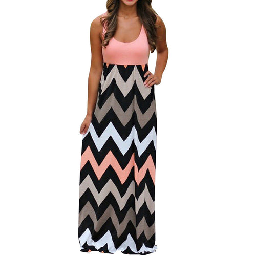 AED37 Womens Striped Long Boho Dress Lady Beach Summer Sundrss Maxi Dress Plus Size