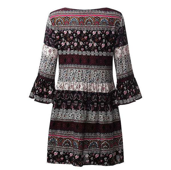 AED22 Women Floral Print Three Quarter Sleeve Boho Dress Ladies Evening Party Dress